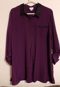Jaclyn Smith Violet sheer button up with Collar XL